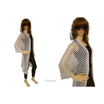 Sweter/narzutka ażurowa/dwa kolory