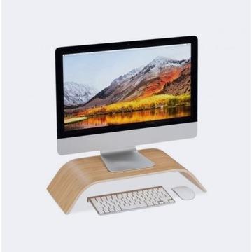 PODSTAWKA PÓŁKA DREWNIANIA pod monitor laptop komp