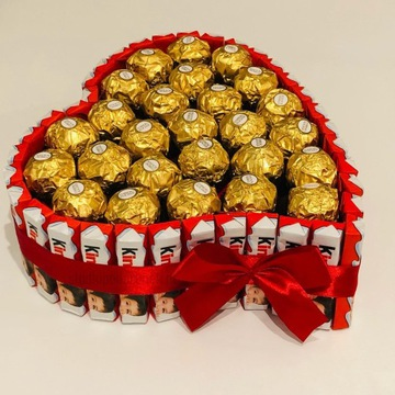 Serce z czekoladek Kinder i Ferrero Rocher
