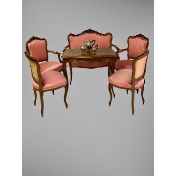 Doskonały salonik kanapa fotele krzesła Ludwik XV