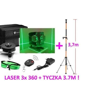 Laser krzyżowy poziomica zielona 3x 360 3D+ TYCZKA