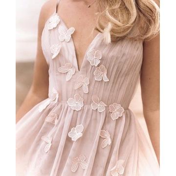 Bezowa sukienka tiulowa rozkloszowana maxi wesele