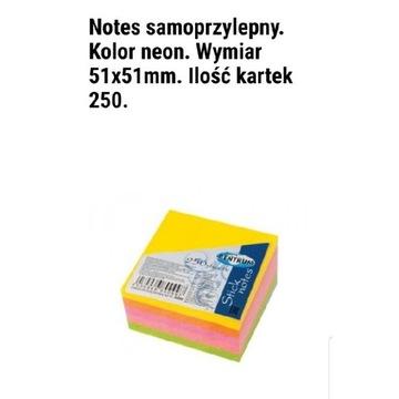 Notes samoprzylepny neony kolory 51×51mm 250kartek