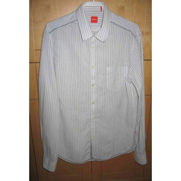 Koszula męska biała w prążki Hugo Boss roz L baweł