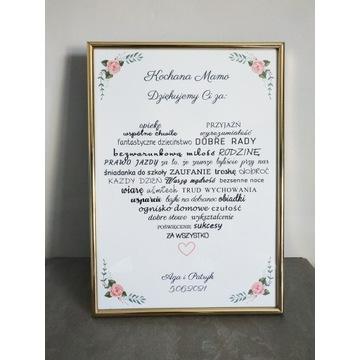 Serce podziękowanie dla rodziców na ślub wesele
