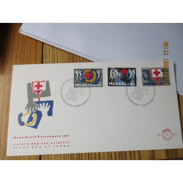 koperta HOLANDIA red cross CZERWONY KRZYŻ FDC 1987