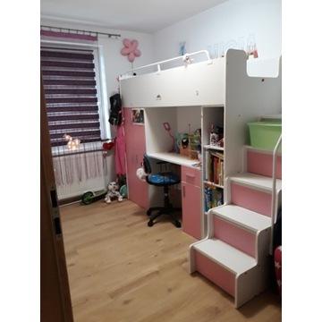 Łóżko piętrowe z biurkiem i szafą dla dzieci