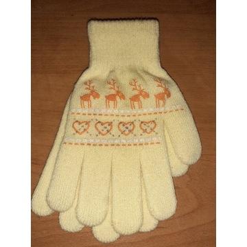 Nowe rękawiczki kremowe dla dziewczynki 9 18 lat