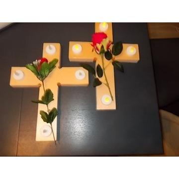 Stroik ,kompozycja nagrobna , róża,świeczki LED
