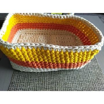 Koszyk ze sznurka bawełnianego, duży, szydełko