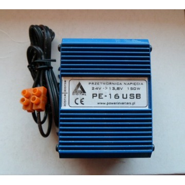 PE-16USB Przetwornica  24 VDC / 13.8 VDC RADIO CB