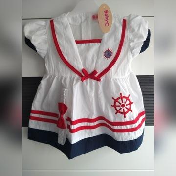 Sukienka marynarska, rozmiar 80, Baby C