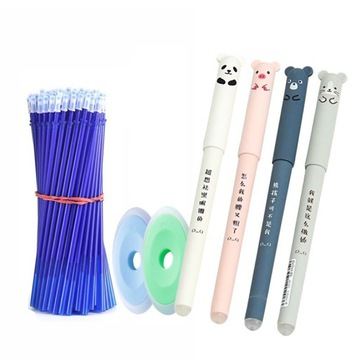 Długopisy zmazywalne zwierzaki + wkłady + gumki