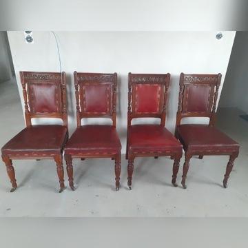 Ręcznie rzeżbione ponad 100letnie krzesła
