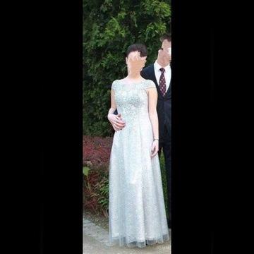 Długa szara elegancka sukienka Ptak Moda