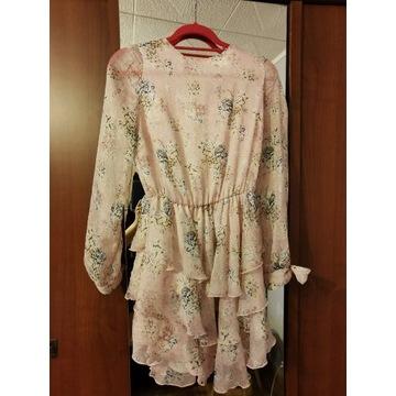 Sukienka boho kwiaty, zwiewna XS/M