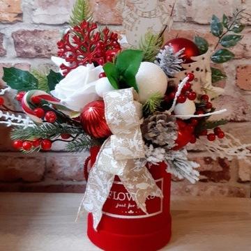 Welurowy flower box świąteczny