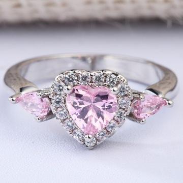 Nowy pierścionek srebrny kolor różowe cyrkonie ser