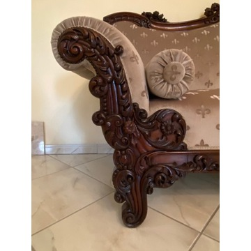Ozdobna, mahoniowa kanapa, sofa z XIX w. Antyk!