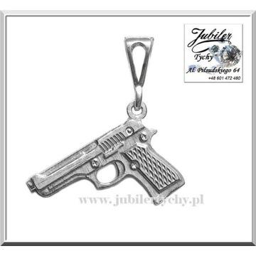 Srebrny wisiorek pistolet srebrna zawieszka Ag 925