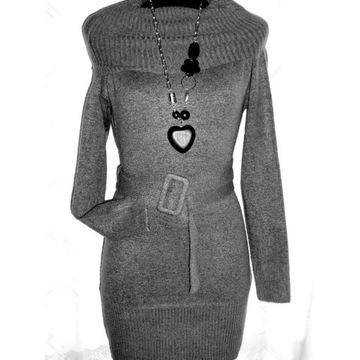 Długi sweterek  typ tunika kolor  popielaty L/XL