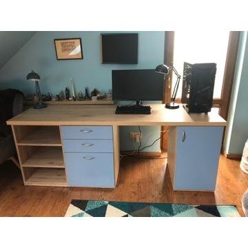 biurko duże, pojemne z szufladami i półkami
