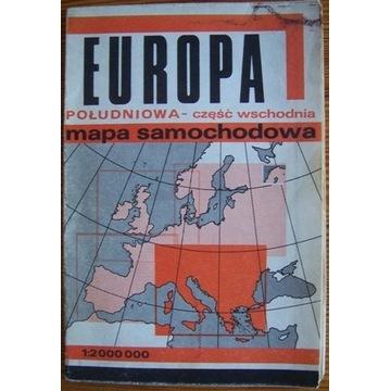Europa południowa część wschodnia Mapa samochodowa