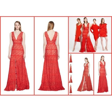 AIJEK czerwona koronkowa suknia S 36 nowa