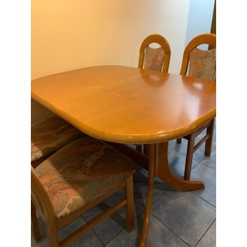 Stół dębowy drewniany rozkładany 4 krzesła używane