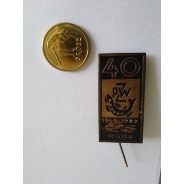 Odznaka PZW  Milcz 40 Lat 1949-1989