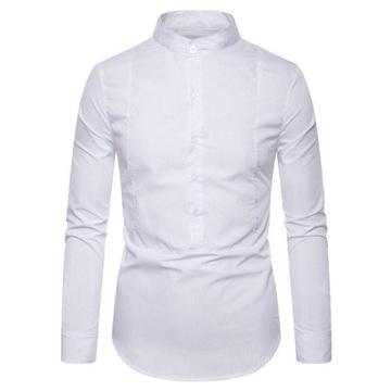 Elegancka koszula męska SLIM FIT WESELE M biała