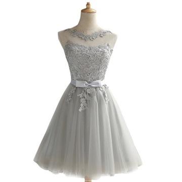 rozkloszowana szara sukienka 36 S