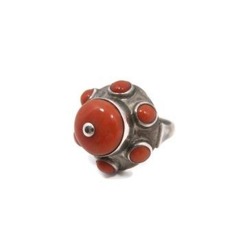 Stary srebrny pierścionek KORAL lata 60. pr. 800!