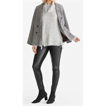 C&A Nowe! Spodnie legginsy eko skóra i materiał 44