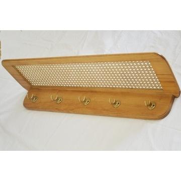 Wieszak drewniany półka garderoba ratan lata 70
