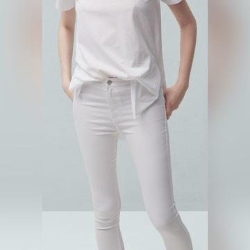 Białe spodnie Mango S 36 rurki skinny bawełniane
