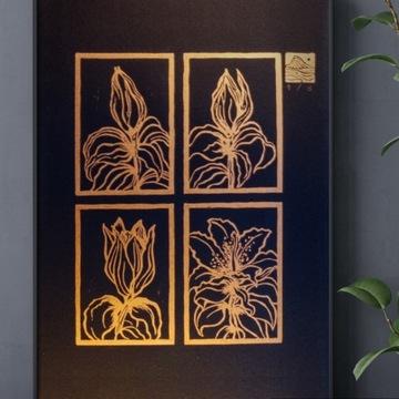 """Linoryt """"Stargazer Lily"""" Czarny papier Złoty tusz"""
