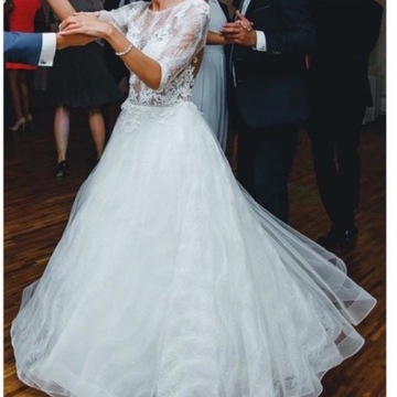 Suknia ślubna 36 38 M piękna długi rękaw koronka