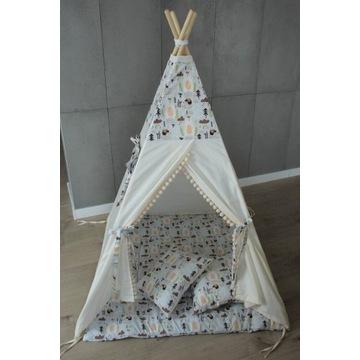 Dostępny od ręki! TIPI namiot krem - leśne jeżyki