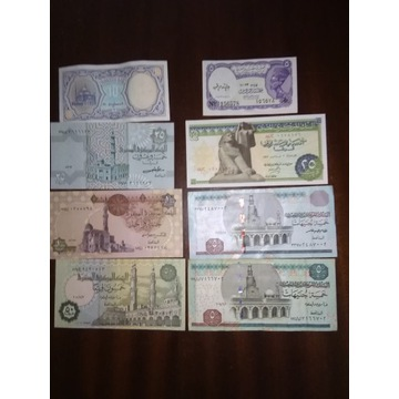 Egipt zestaw banknotow