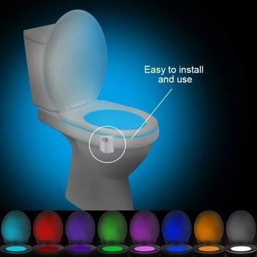 WC lampka z czujnikami świeci8 kolorów super efekt
