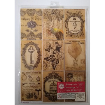 Papier ryżowy Stamperia A4 motyle klucz ptaki balo