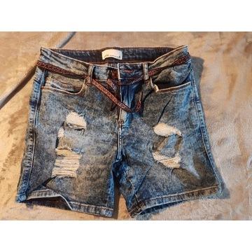 jeansowe szorty z paskiem house xs