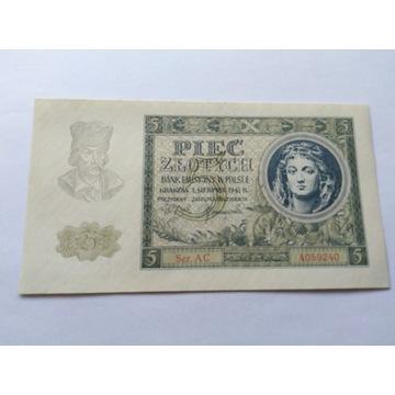 Banknot 5 zł 1941 r. seria AC 2szt. BCM