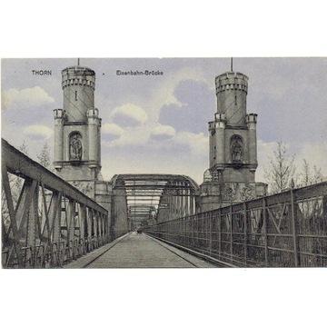 Toruń, Thorn, most kolejowy, rzadka z reklamą