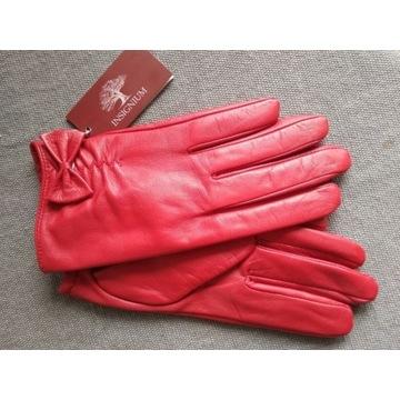 Rękawiczki skóra koźlęca czerwone Lady