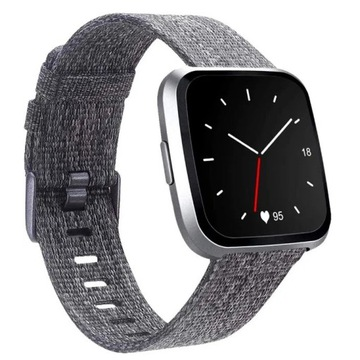 Pasek do Fitbit Versa - nylon pleciony, szary