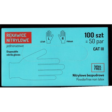 Rękawiczki nitrylowe XL niebieskie 100 sztuk