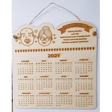 Kalendarz drewniany, prezent, Dzień Dziadka, Babci