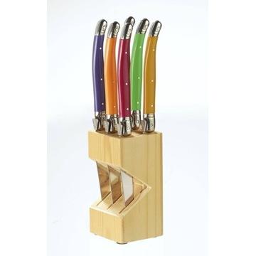 Zestaw 6 noży do steków z blokiem z prawdziwego dr